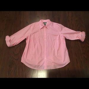 Ralph Lauren pink w nite gingham shirt 2X